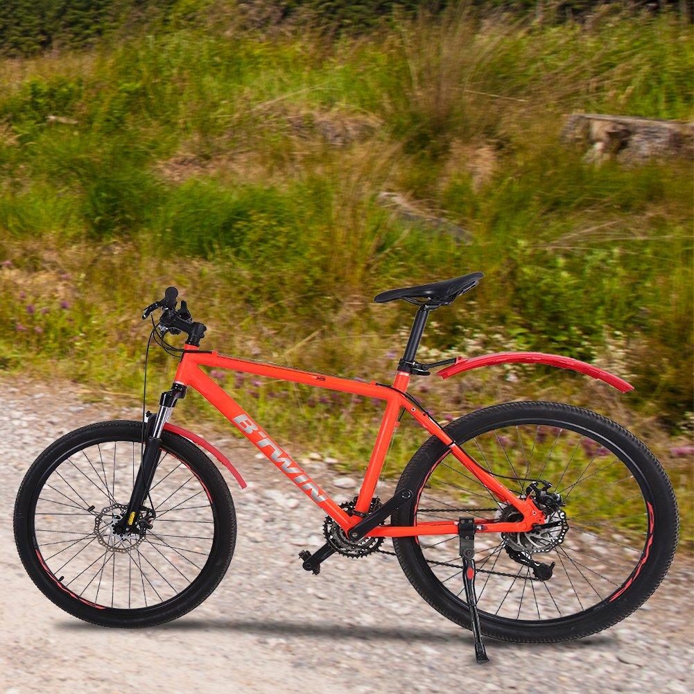 SolUptanisu Bicycle Fenders Set,Adjustable Bicycle Front /& Rear Mud Guard Set Mountain Road Bike Mudguard with Rear LED Light Bike Mudguard