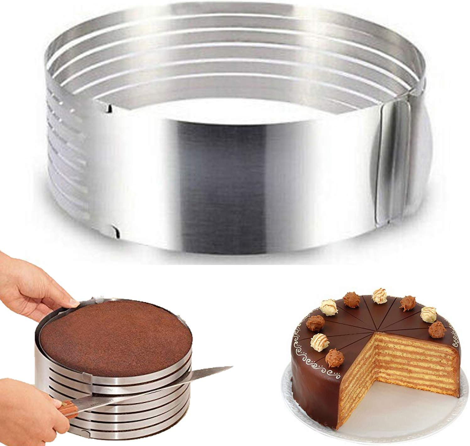 9 to 12 Adjustable Mousse Cake Mold Stainless Steel Circle Mousse Bread Cake Slicer Mold Cut Tool