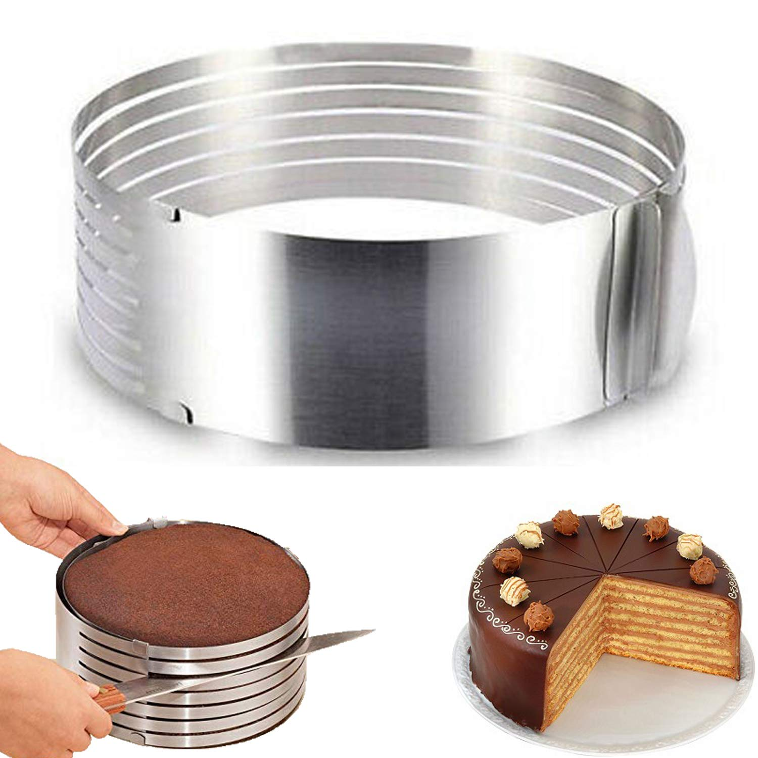 RAINBEAN Adjustable Layered Cake Slicer leveler,6-8 Inch Stainless Steel Round Bread Layer Cake Cutter Mold,Baking Tool Kit Set Mousse Mould Slicing-Silver