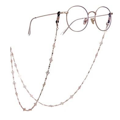 bd9ae27c2eb5 cooltime Four-Leaf Clover Eyeglass Chain Holder Eyewear Accessories for Men  Women (Gold-