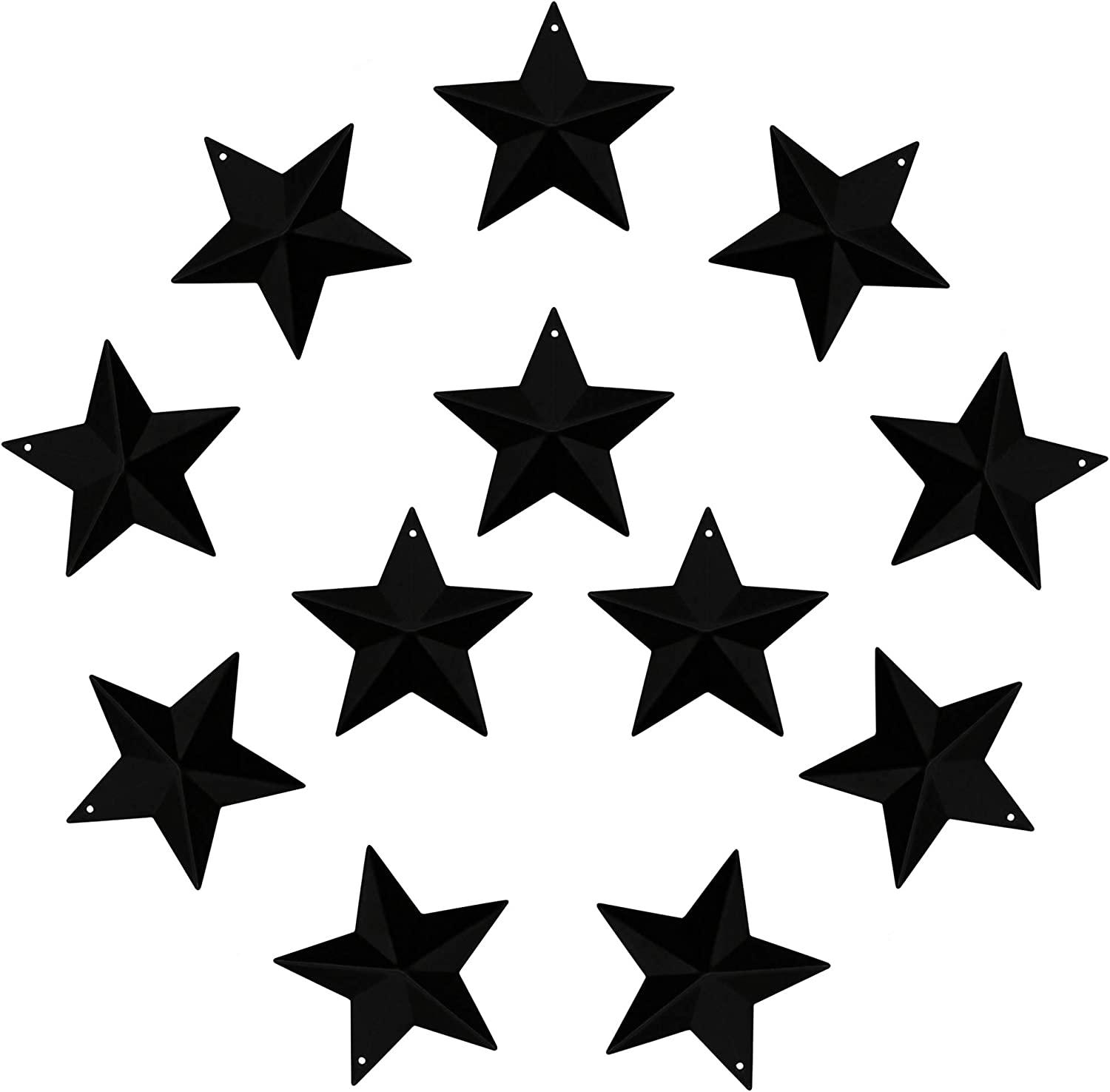 CVHOMEDECO. Country Rustic Primitive Vintage Gifts Black Small Metal Barn Star Wall/Door Decor, 2-1/2 Inch, Set of 12.