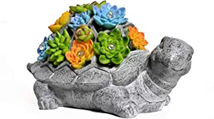 ASAWASA Tortoise Solar Garden Statues and Sculptures Outdoor Decor, Garden Figurines with Solar Powered Lights for Patio,Lawn,Yard Art Decoration, Housewarming Garden Gift,10.2x5.9x5.7 Inch