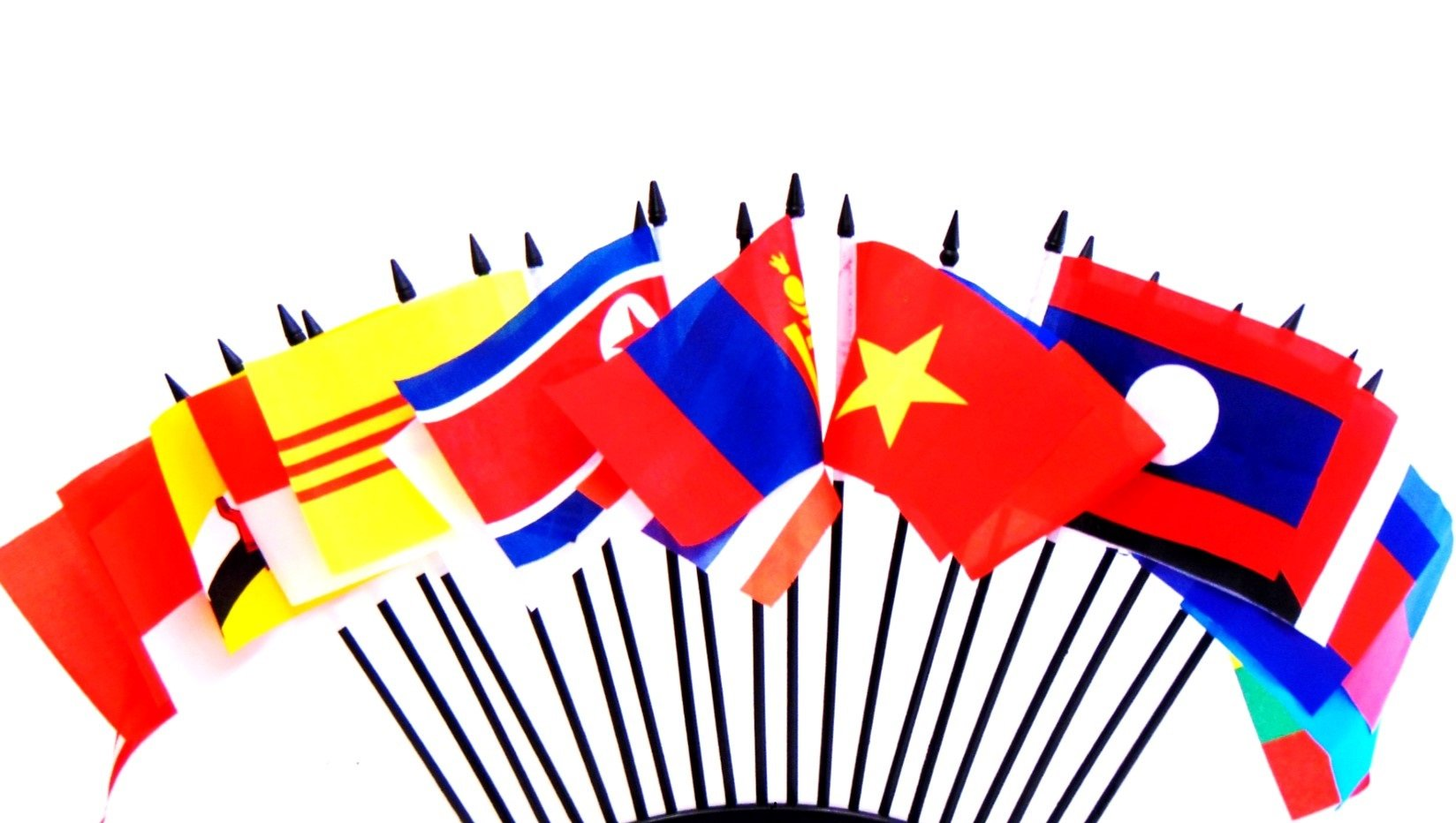 South East Asia World Flag SET-20 Polyester 4''x6'' Flags, One Flag for Each Country in South East Asia, 4x6 Miniature Desk & Table Flags, Small Mini Stick Flags