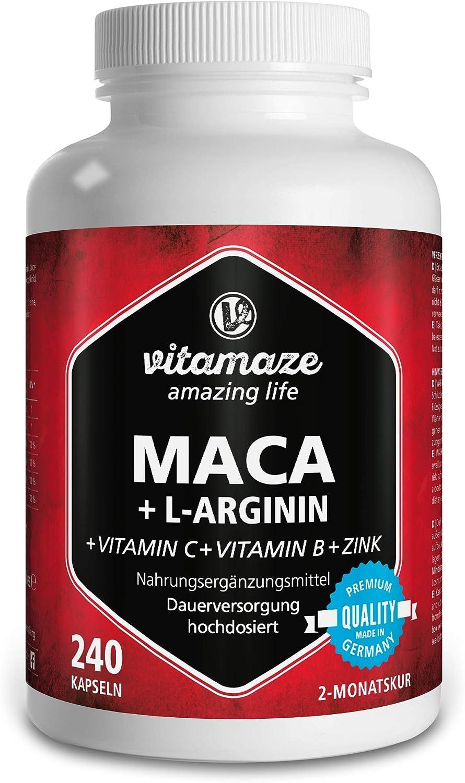 Vitamaze® Maca Pura Cápsulas de Alta Dosis 4000 mg + L-Arginina + Vitaminas + Zinc, 240 Cápsulas por 2 Meses, Maca Peruana de los Andina, sin Aditivos Innecesarios, Calidad Alemana