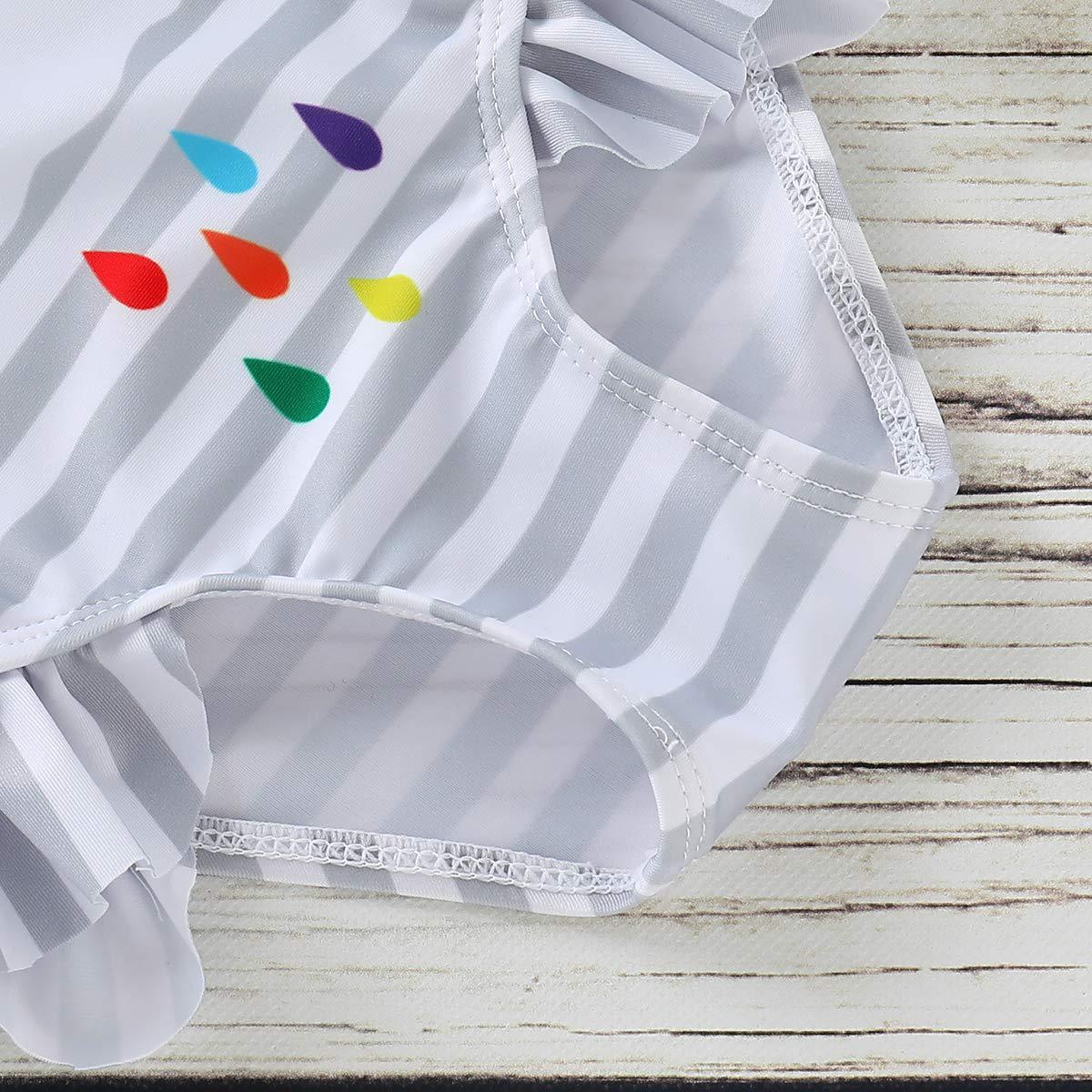 6M-5T Toddler Baby Girls One-Piece Swimsuit Beachwear Twins Rainbow Striped Swimwear Sister Matching Bathing Suits
