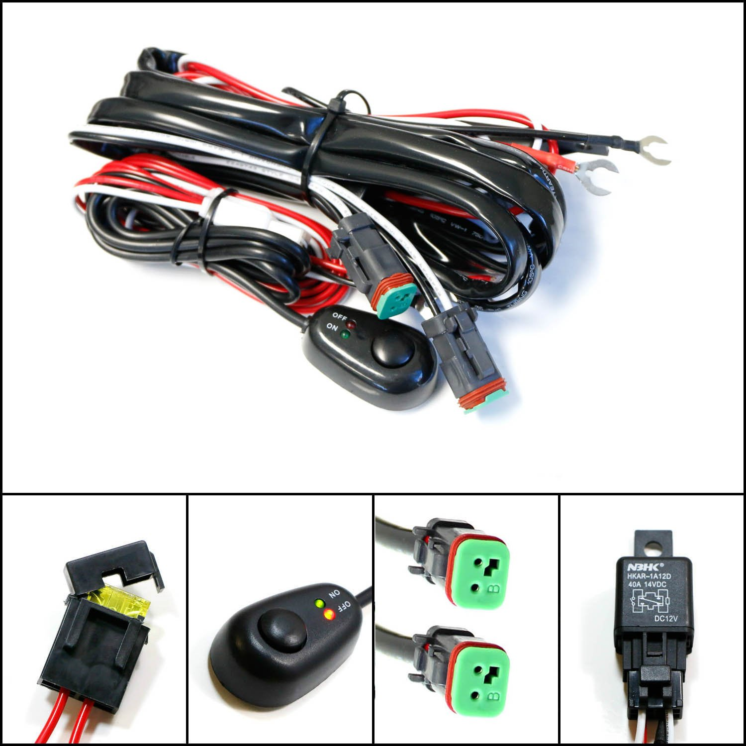 Ijdmtoy 1 Deutsch Dt Dtp Connectors Relay Harness Wire Chevrolet Colorado Fog Light Wiring Diagram Kit With Led On Off Switch For Road Pod Lights Worklamps