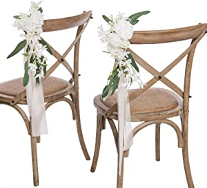Ling's moment Wedding Aisle Chair Decorations Set of 8 Pew Flowers with Drapery (Italian Ruscus +White Flowers)