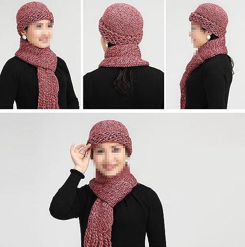 Bufanda Del Sombrero Del Invierno De Los Sombreros De La Mujer De Mediana Edad,Brown-OneSize