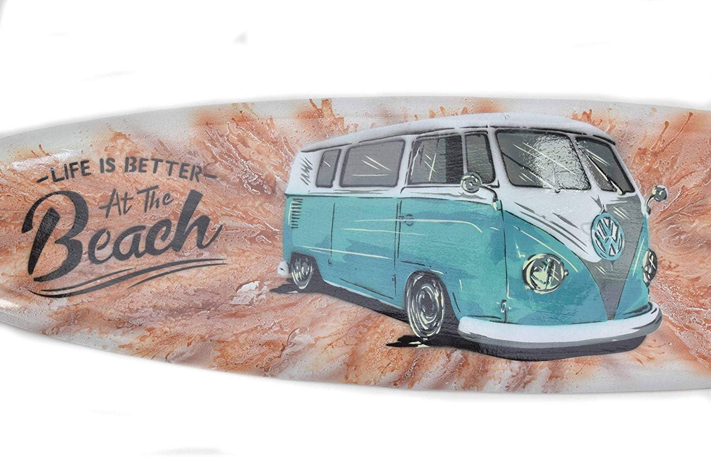 Interlifestyle Planche de Surf 100cm Bus Life Is Better At The Plage D/écoration pour Accrocher Salon Style