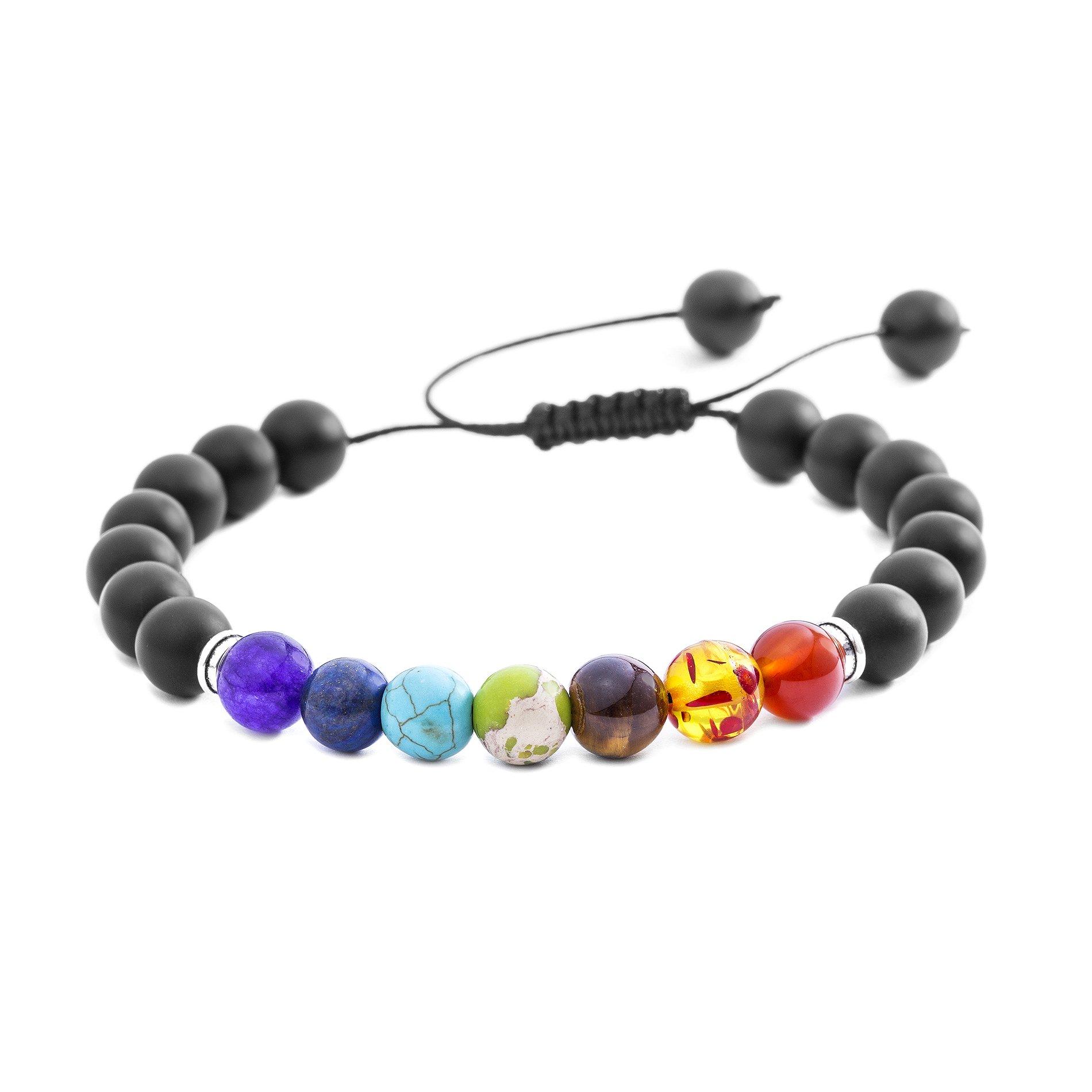 Willowbird Men/Woman Genuine Multi Color Agate 8mm Stone Healing Style Yoga Bead Adjustable Bolo Bracelet (Matte Black)