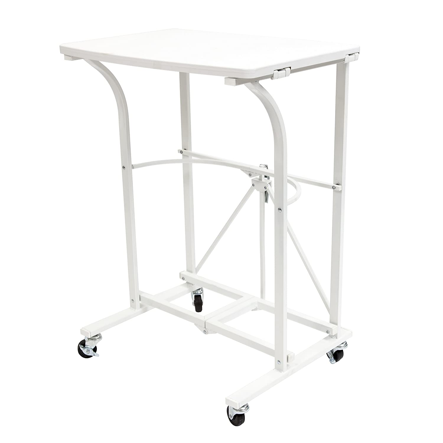 Origami Group RDP-01-WHITE Steel Frame 4 Locking Wheel Foldable Trolley Table