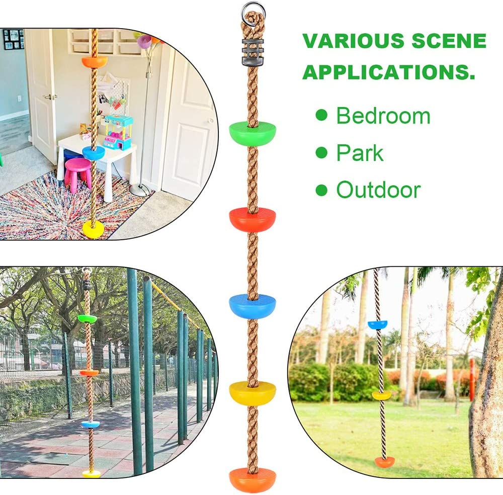 Additions /& Replacements for Active Outdoor Play Equipment Swing Set Accessories with Snap Hook and Tree Straps WAREMAID 6.6 ft Climbing Rope with Platforms Kids Toy Birthday Gift Garden Set