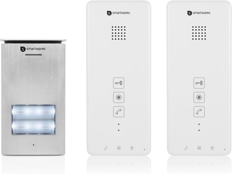 Smartwares DIC-21122 Portero electrónico, audio bidireccional, instalación sencilla de 2 cables, 52 melodías, pulsador de timbre iluminado, unidad para exteriores resistente al agua, kit 2 viviendas