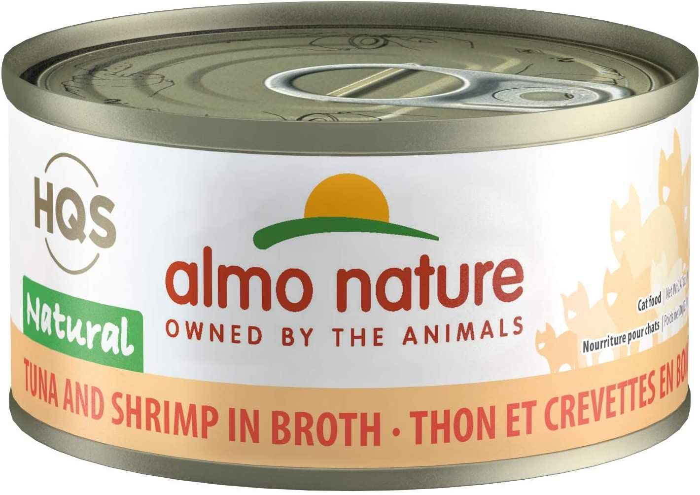 Almo Nature HQS Natural Tuna with Shrimps, Grain Free, Additive Free, Adult Cat Canned Wet Food, Flaked