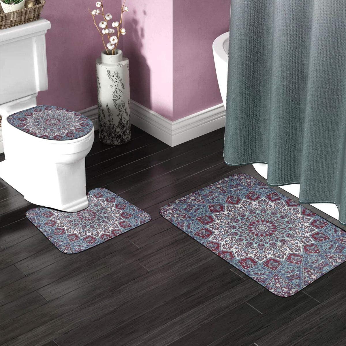 BTGVGSE Western Dragon Printed 3 Pack Non-Slip Bathroom Toilet Rug Set,Includes U-Shaped Contour Toilet Mat,Bath Mat and Toilet Lid Cover