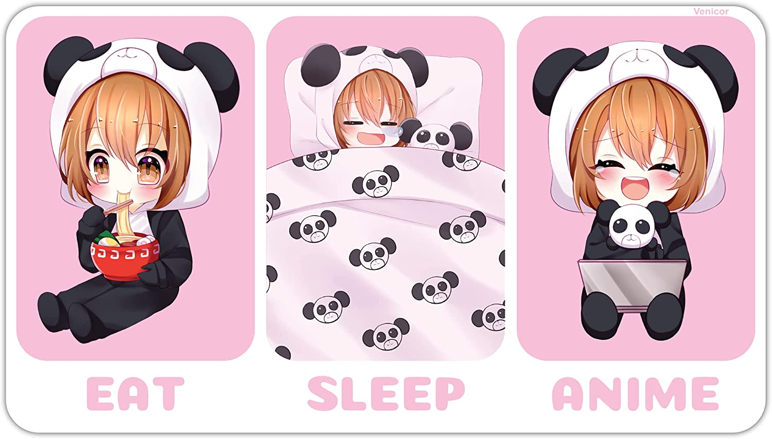 Kawaii Anime Room Decor - 9.5 x 17 Inches - Aluminum - Eat Sleep Anime - Chibi Panda Girl Wall Decor for Teen Girls - Anime Lovers Gifts - Cute Pink Bedroom Decorations Aesthetic Poster Tapestry