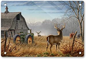 """Autumn Barn Tractor & Whitetail Deer Customized 12"""" X 8"""" Metal Tin Sign,Vintage Style Art Wall Ornament Coffee & Bar Decor Wall Decorative Sign"""