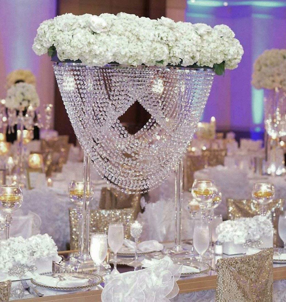 EVERBON 31.5 Inches Tall Wedding Crystal Centerpieces Metal Flower Chandeliers Acrylic Flower Stand Table Centerpiece Aisle Road Lead Party Decor