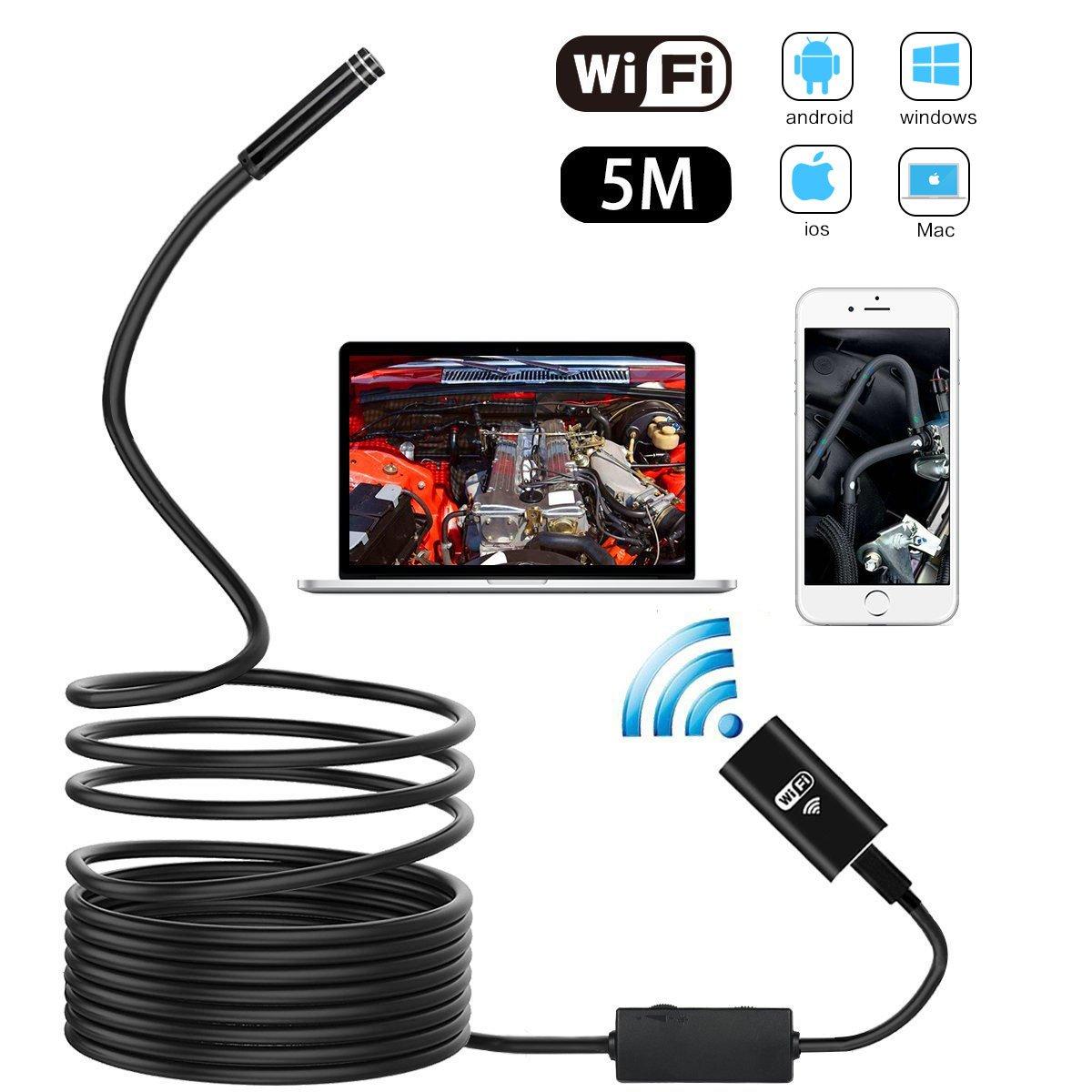Metalbay Endoscopio HD WIFI 5M Impermeabile Macchina Fotografica di Ispezione 8 LED Luci 2.0 Megapixels IP67 per IOS Smartphone , iPhone, Samsung, Tablet 151231