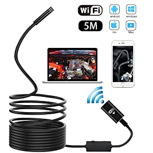 METALBAY HD Cámara Endoscópica WIFI Impermeable IP67 USB Endoscopio 2,0 Megapíxeles Video Boroscopio Diámetro 8mm con Cable Semirigido de 5M para Android, Iphone y PC.