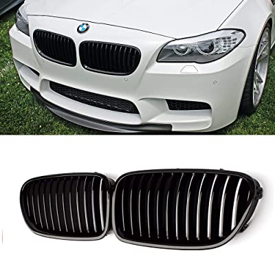 SNA F10 Grille, Front Kidney Grill for 2010-2016 BMW 5 Series F10 F11 And F10 M5 (Single Slat Gloss Black Grill, 2-pc Set): Automotive
