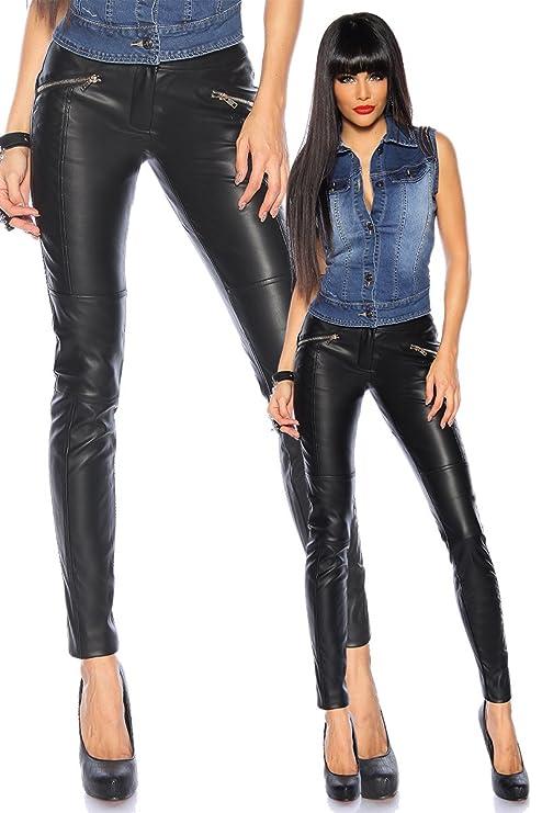 Schwarze Wetlook Stretchhose im Leder Look Kunstleder Hose Damen (40)   Amazon.de  Bekleidung bab81b8d60