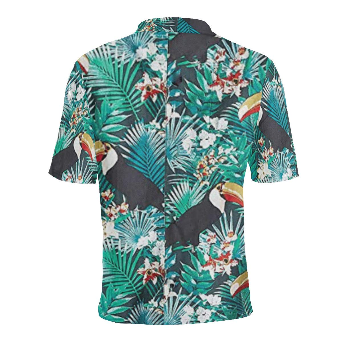 UlanLi Short Sleeve Turquoise Toucan Mens All Over Print Polo Shirt