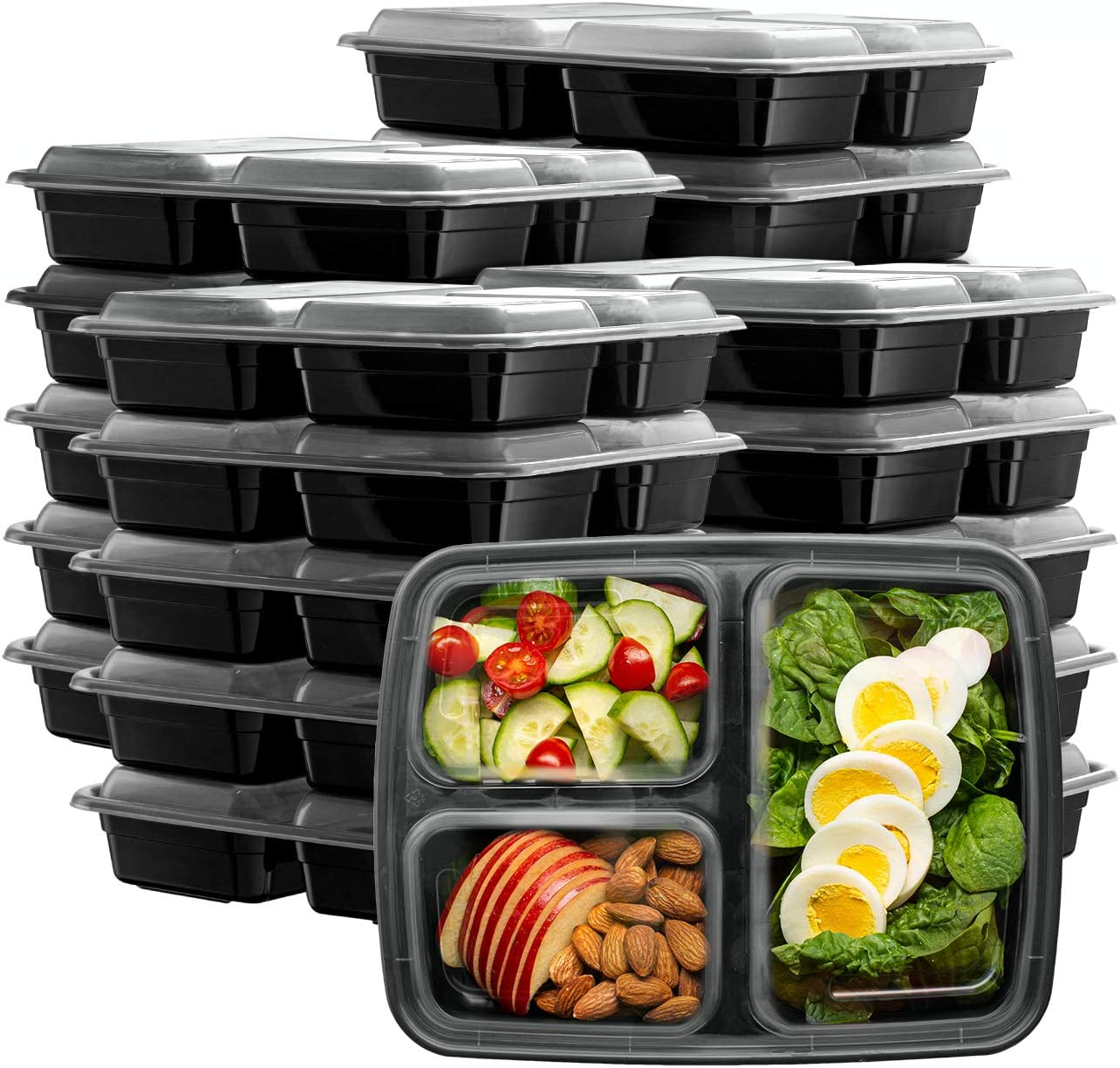 [50 Sets] Meal Prep Containers With Lids, 3 Compartment Lunch Containers, Bento Boxes, Food Storage Containers - 32 oz.