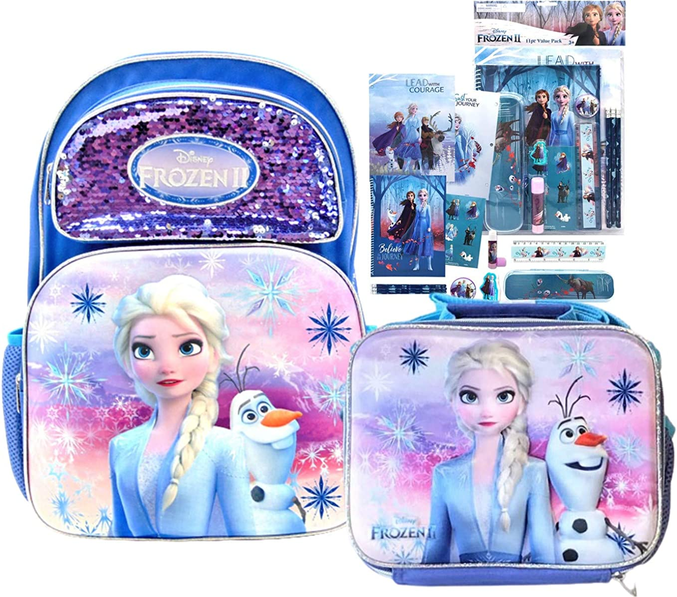 Disney Frozen II Full Size Elsa Sequin Backpack, Lunch Box & Stationery Set