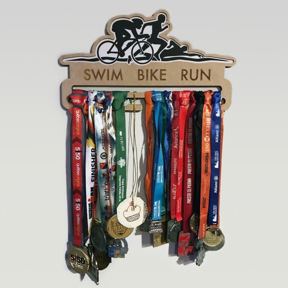 Run Medallero Portamedallas Triatlón Bike Swim Percha Para IbfgY76yv