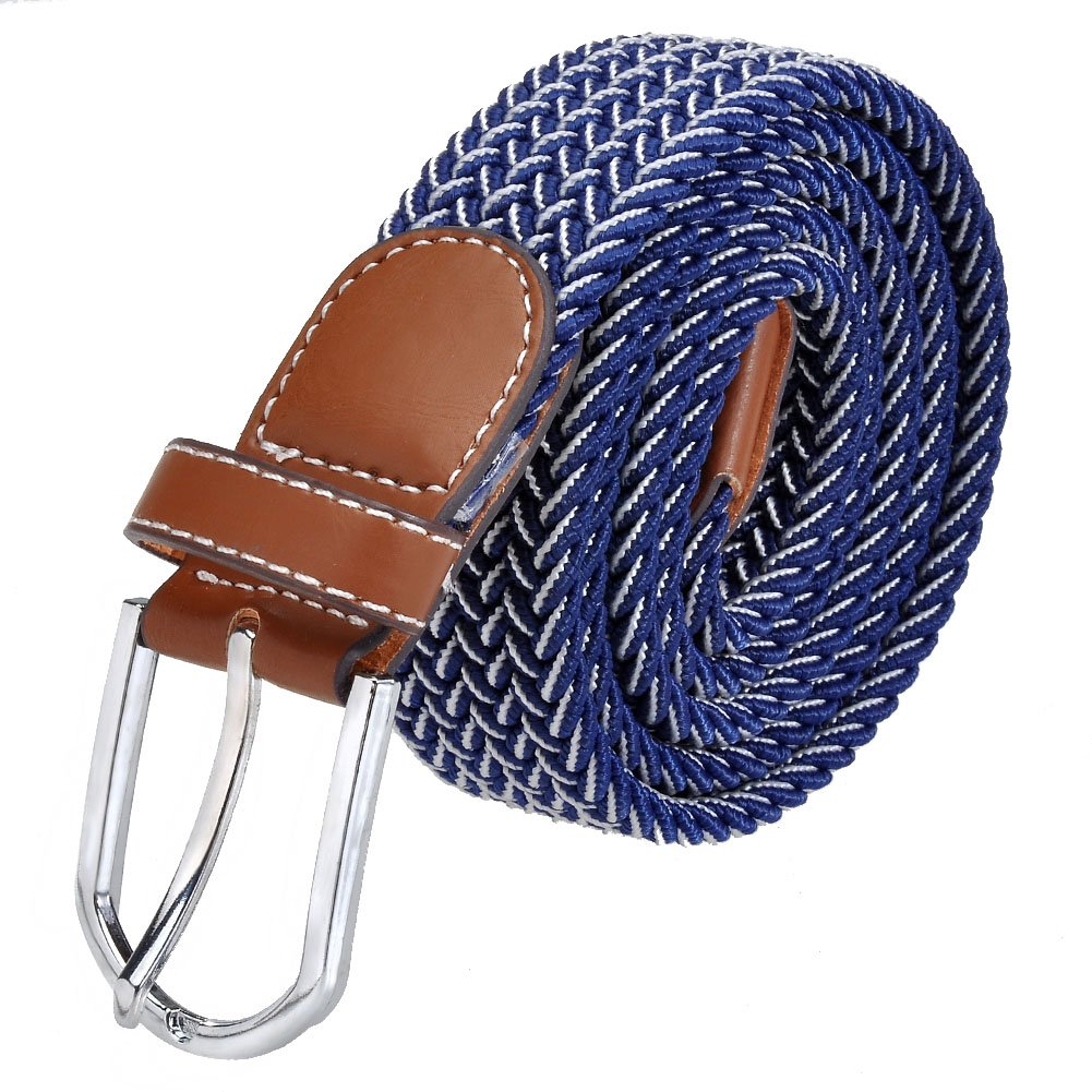 Ayliss Men's Elastic Fabric Woven Stretch Belt Cowhide Leather Inlay, Many Colours Available