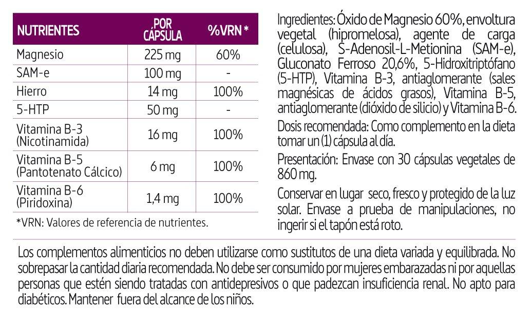 Magnesio, Sam-e, Hierro, Triptofano, Vitamina b-3, b-5, b-6, 410 mg 30 cápsulas vegetales: Amazon.es: Salud y cuidado personal