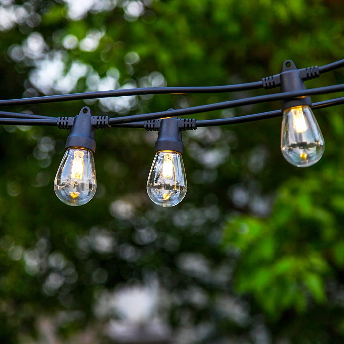Brightech Ambience Pro - Waterproof LED Outdoor Solar String Lights - Hanging 1W Vintage Edison Bulbs - 27 Ft Heavy Duty Patio Lights Create Cafe Ambience On Your Porch
