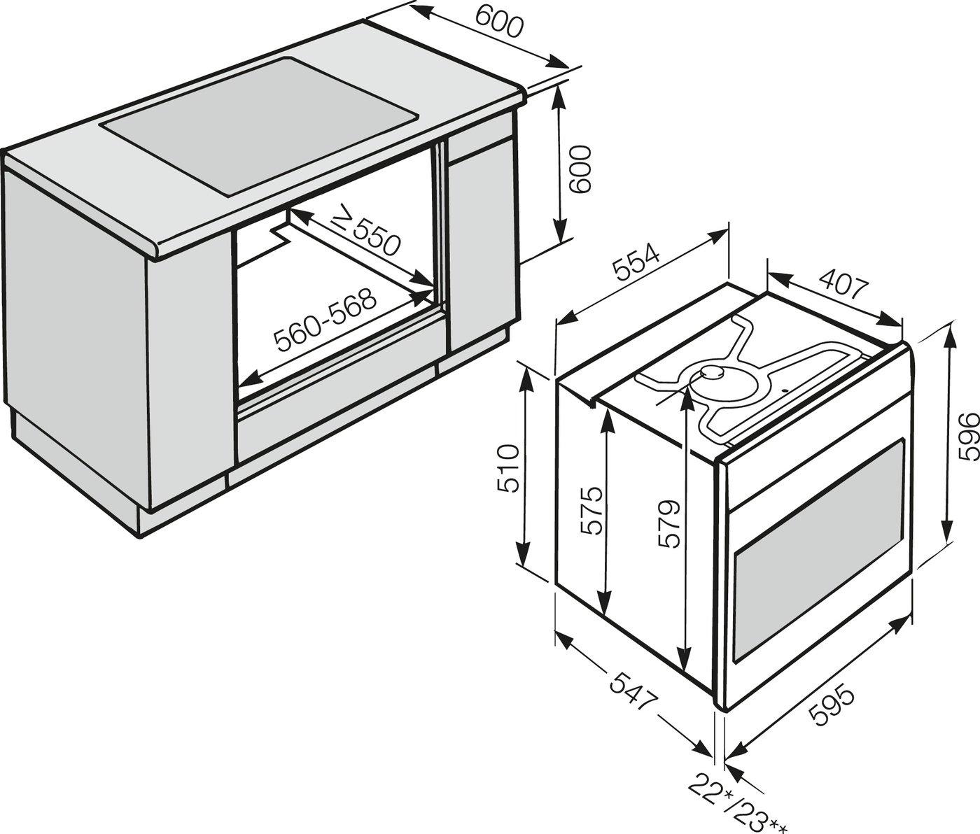 55.4 cm Glaskeramik Breite Herdset aus Miele H 2267 E Active Herd edelstahl und LPT Elektro-Kochfeld 57.4 cm