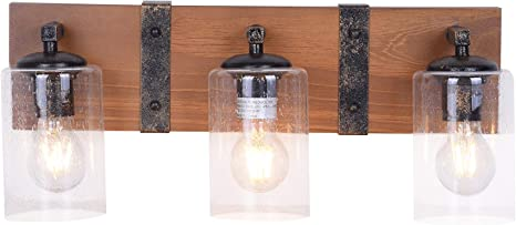 Amazon Com Wood And Metal Rustic Farmhouse Bathroom Vanity Light Fixture Brown Wrought Iron Dimmable Home Kitchen
