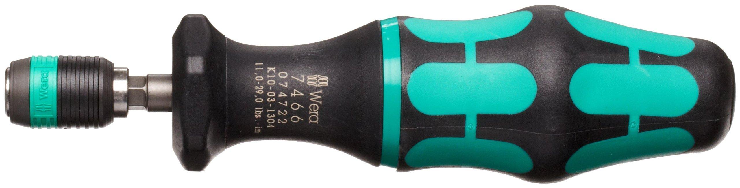 Wera 05074722001 Kraftform 7466 Hexagon Torque Screwdriver, 1/4'' Head, 11.0-29.0''/lbs Pre-Set Adjustable Torque Range