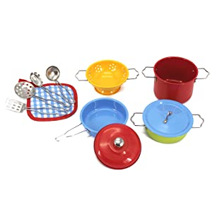 KIDAMI Kitchen Pretend Toys Stainless Steel Cookware Playset with Varieties of Pots and Pans and Cooking Utensils for Kids (Colorful)