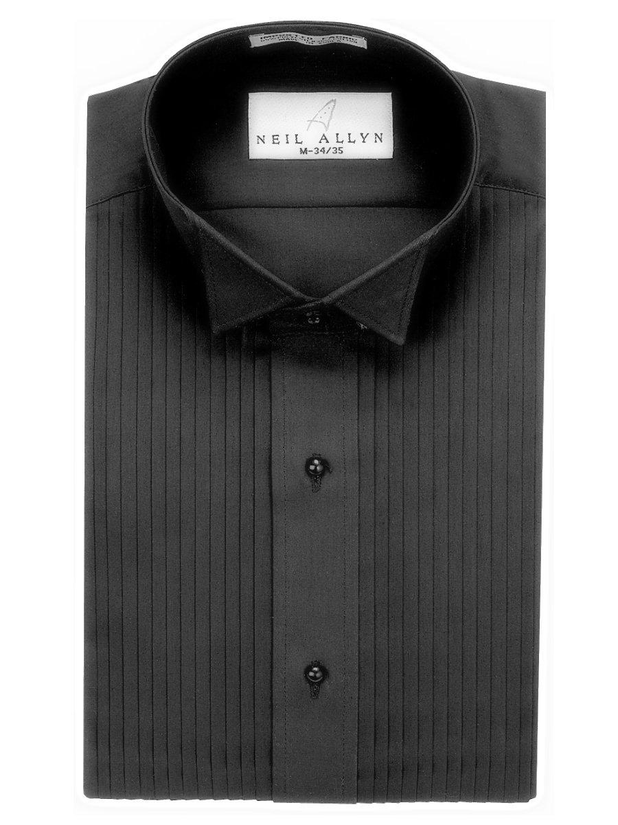 Neil Allyn Men's Black Wing Collar 1/4'' Pleats Tuxedo Shirt-L-34-35