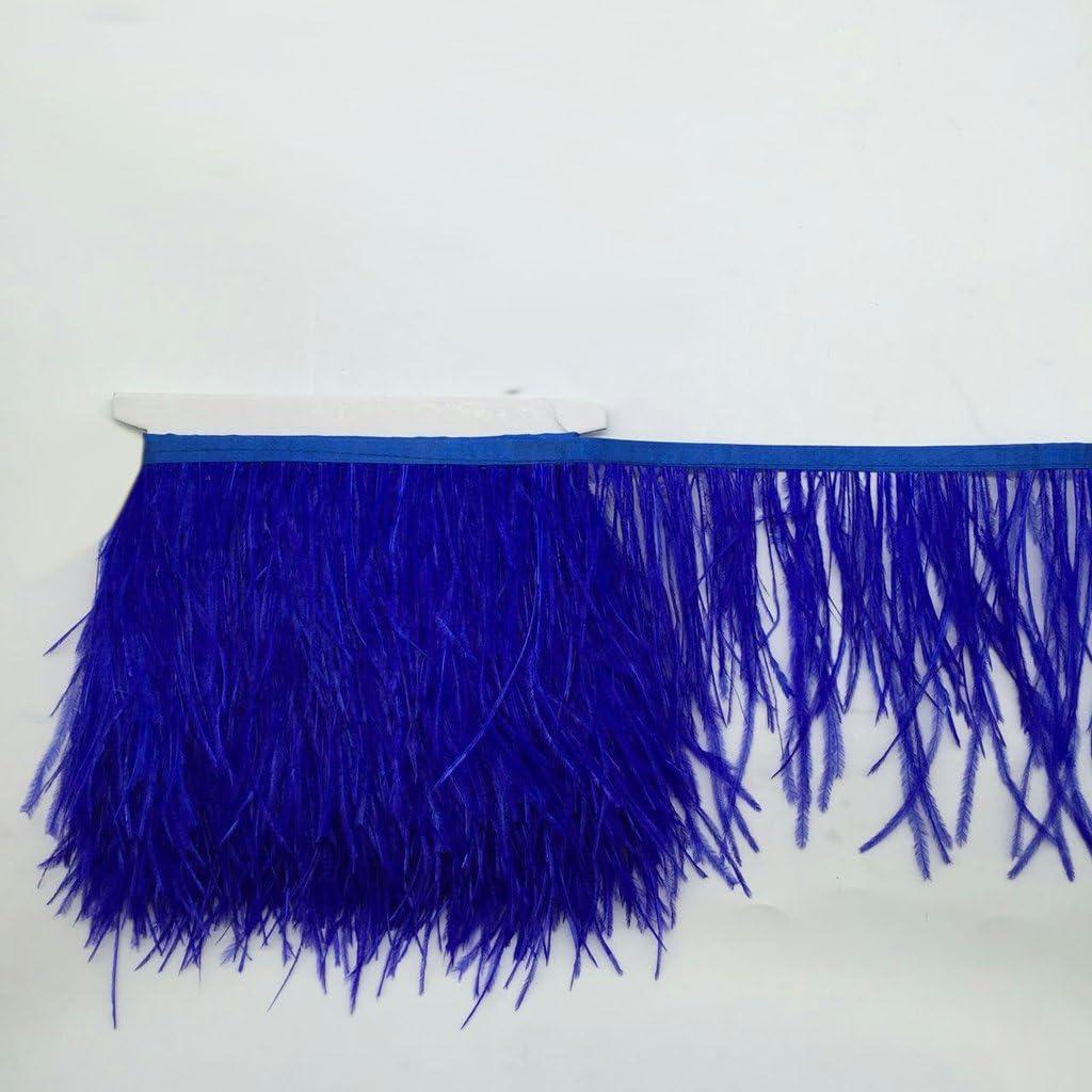 Blue Ostrich Feather Fringe Trim Costume Sewing Crafts Decor 9-15cm