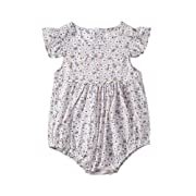 Newborn Toddler Baby Girl Ruffle Sleeveless Romper Floral Print Vintage Bodysuit Clothes Apricot