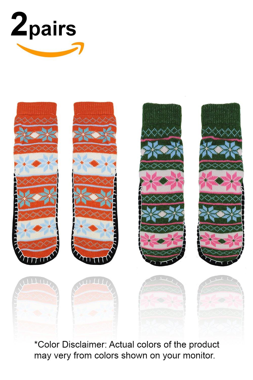 Basico Women Knitted Home Slipper Socks with NON Slip Bottom (2pk Snow Flakes Green)