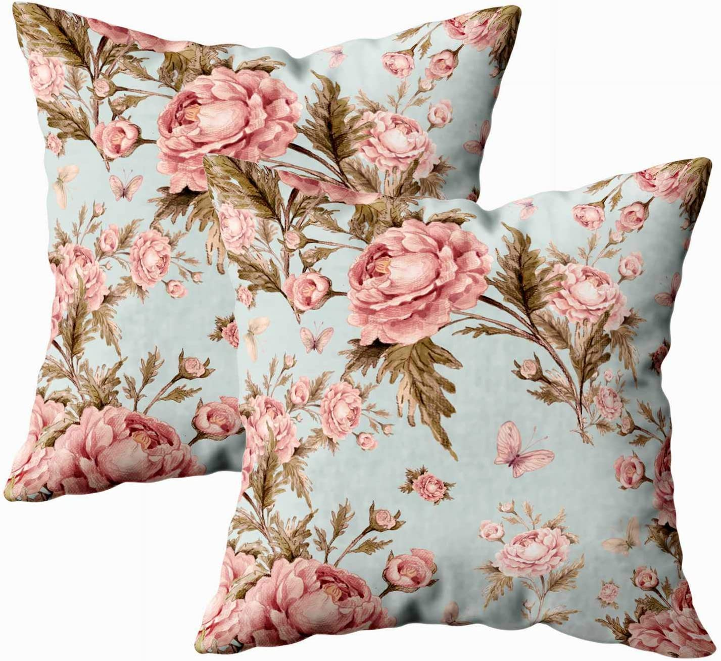 Amazon Com Musesh Floral Velvet Pillow Home Pillow Cases Pack Of 2 Watercolor Pattern With Roses And Butterflies Beautiful Decoration Design Trendy Exquisite Of Sketches Sofa Pillowcase 18x18inch Pillow Covers Home Kitchen