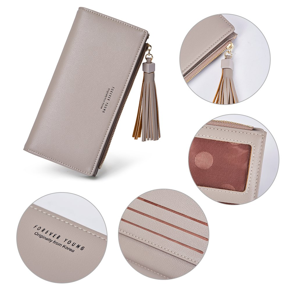 Wallets for Women Fashion Soft Leather Billfold Long Clutch Ladies Credit Card Holder Organizer Purse gray by Romere (Image #6)