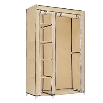 HomCom 69 Inch Portable Closet Rod Wardrobe 5 Shelves Plus Clothes Hanging Rail Free Standing