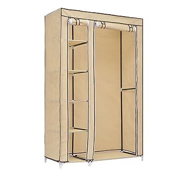 HomCom 69 Inch Portable Closet Rod Wardrobe 5 Shelves Plus Clothes Hanging Rail Free Standing