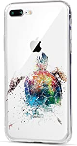 HUIYCUU Case Compatible with iPhone 8 Plus for iPhone 7 Plus Case, Cute Animal Design Slim Fit Soft TPU Protective Cover Funny Pattern Thin Clear Skin Novelty Bumper Back Shell,Painted Sea Turtle