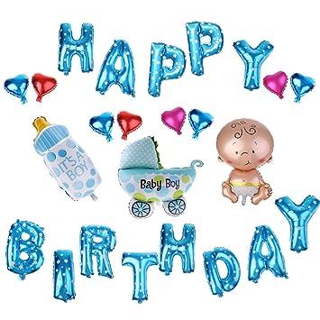 Azule Alfabetos Feliz Cumpleaños Foil Globos Conjunto Bebé ...
