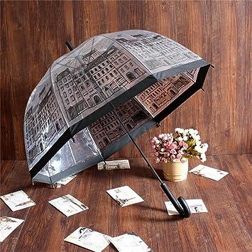 paraguas Inglaterra Edificio paraguas transparente Full House Arco de mango largo Paraguas princesa paraguas paraguas de