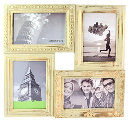 dab26094c58 Cream and Gold Distressed Ornate Square Multi Photo Frame For 4 Photos 6   x  4   (33x33 cm)  Amazon.co.uk  Kitchen   Home