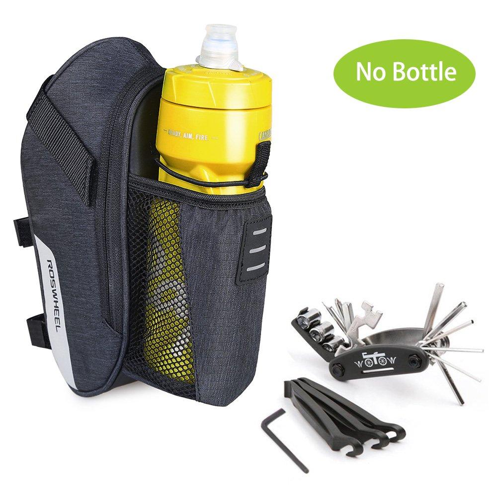 WOTOW Set de reparación de Bicicletas Bike al Aire Libre Asiento Saddle Bag Multi Function Tool Kit (Bolsa de sillín + 16 en 1 Herramienta)